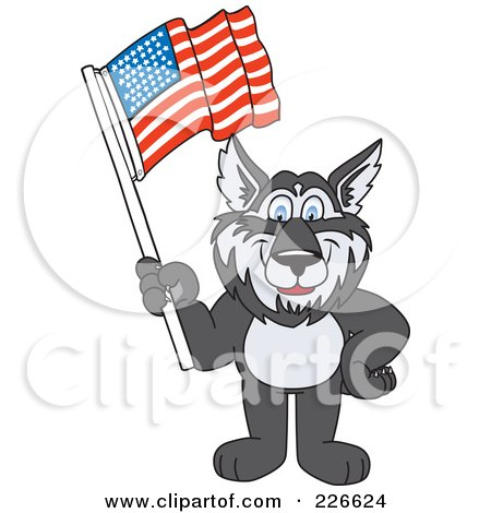Royalty-Free (RF) Clipart Illustration of a Husky School Mascot Waving An American Flag by Toons4Biz