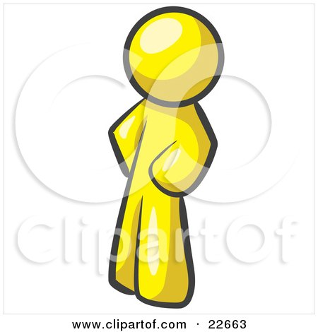 Clipart Illustration of a Yellow Man Standing With His Hands on His Hips by Leo Blanchette