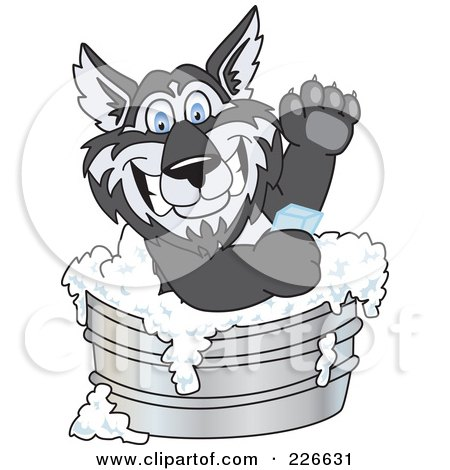 Royalty-Free (RF) Clipart Illustration of a Husky School Mascot Using Soap In A Metal Tub by Toons4Biz