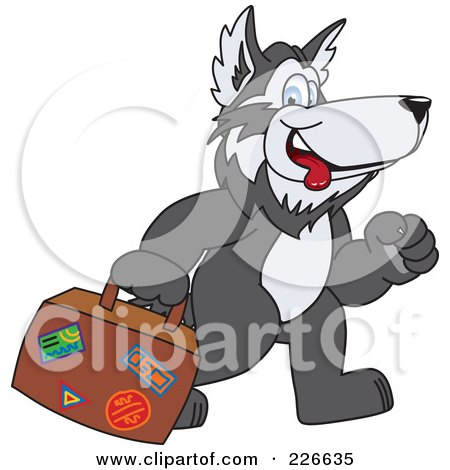 Royalty-Free (RF) Clipart Illustration of a Husky School Mascot Carrying Luggage by Toons4Biz