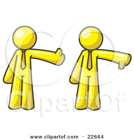 Clipart Illustration of a Yellow Business Man Giving the Thumbs Up Then the Thumbs Down  by Leo Blanchette