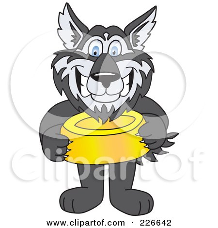Royalty-Free (RF) Clipart Illustration of a Husky School Mascot Holding A Food Bowl by Toons4Biz