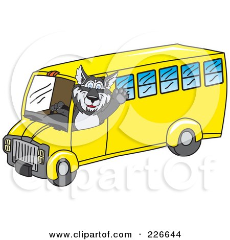 Royalty-Free (RF) Clipart Illustration of a Husky School Mascot Waving And Driving A School Bus by Toons4Biz