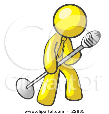 Clipart Illustration of a Yellow Man In A Tie, Singing Songs On Stage During A Concert Or At A Karaoke Bar While Tipping The Microphone by Leo Blanchette
