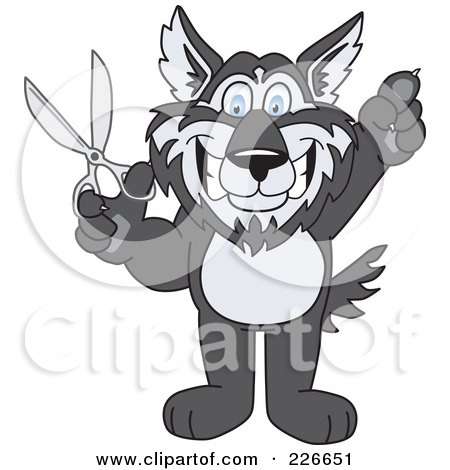 Royalty-Free (RF) Clipart Illustration of a Husky School Mascot Holding Up Scissors by Toons4Biz