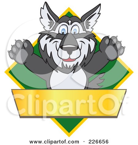 Royalty-Free (RF) Clipart Illustration of a Husky School Mascot Logo Over A Green Diamond With A Blank Gold Banner by Toons4Biz