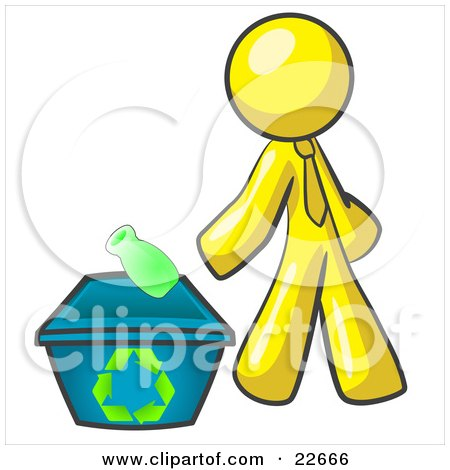 Clipart Illustration of a Yellow Man Tossing A Plastic Container Into A Recycle Bin, Symbolizing Someone Doing Their Part To Help The Environment And To Be Earth Friendly by Leo Blanchette