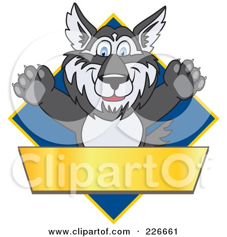 Royalty-Free (RF) Clipart Illustration of a Husky School Mascot Logo Over A Blue Diamond With A Blank Gold Banner by Toons4Biz