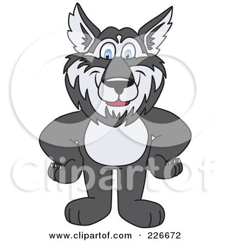 Royalty-Free (RF) Clipart Illustration of a Husky School Mascot Standing With His Hands On His Hips by Toons4Biz
