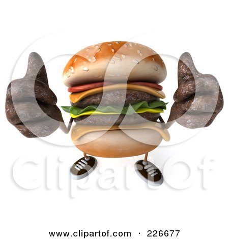 Royalty-Free (RF) Clipart Illustration of a 3d Cheeseburger Holding Two Thumbs Up by Julos