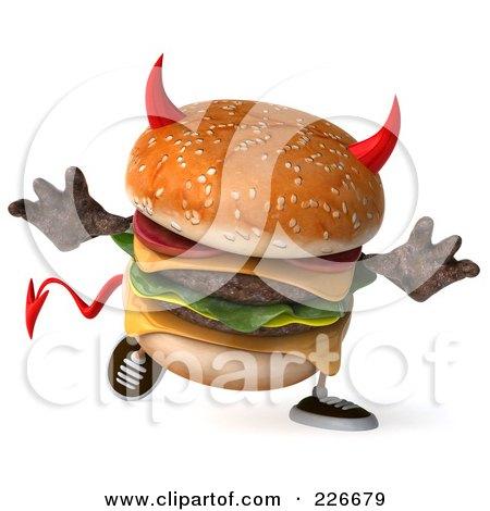 Royalty-Free (RF) Clipart Illustration of a 3d Devil Hamburger Walking - 1 by Julos