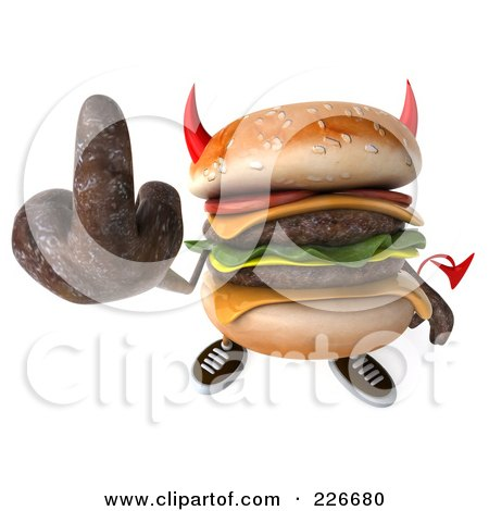 Royalty-Free (RF) Clipart Illustration of a 3d Devil Hamburger Holding Up The Middle Finger by Julos