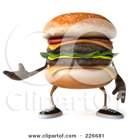 Royalty-Free (RF) Clipart Illustration of a 3d Cheeseburger Gesturing by Julos