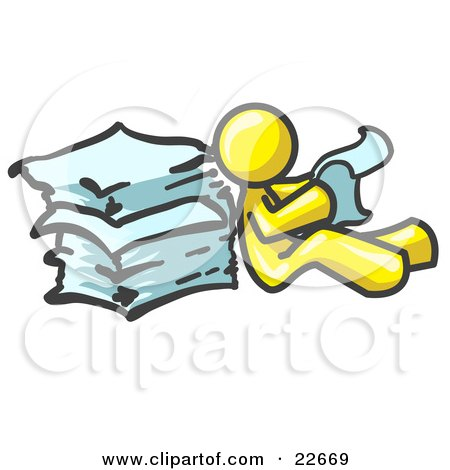 Clipart Illustration of a Yellow Man Leaning Against a Stack of Papers by Leo Blanchette