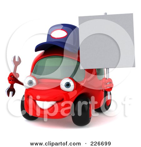 Royalty-Free (RF) Clipart Illustration of a 3d Red Automobile Mechanic Holding A Wrench And A Blank Sign by Julos