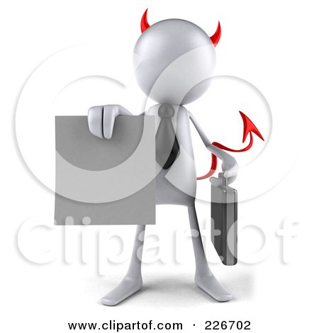 Royalty-Free (RF) Clipart Illustration of a 3d White Devil Bob Businessman Facing Front And Holding A Blank Contract by Julos