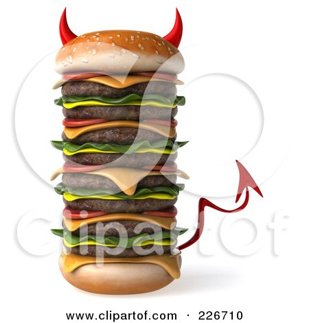 Royalty-Free (RF) Clipart Illustration of a 3d Devil Hamburger Stacked High by Julos