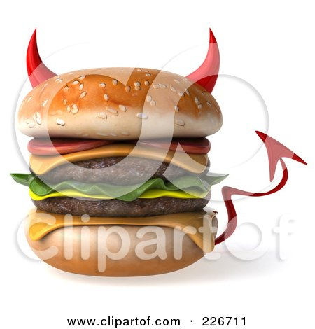 Royalty-Free (RF) Clipart Illustration of a 3d Devil Hamburger by Julos