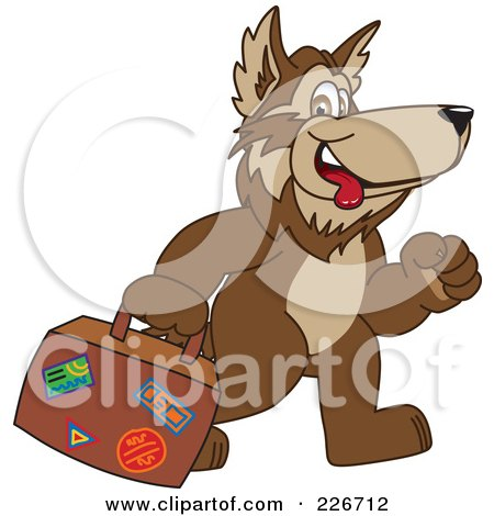 Royalty-Free (RF) Clipart Illustration of a Wolf School Mascot Carrying Luggage by Toons4Biz