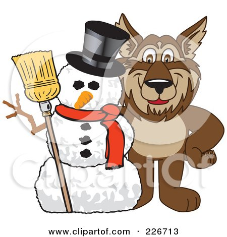 Royalty-Free (RF) Clipart Illustration of a Wolf School Mascot With A Snowman by Toons4Biz