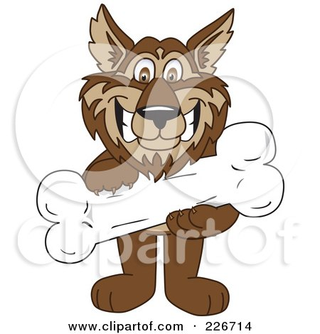 Royalty-Free (RF) Clipart Illustration of a Wolf School Mascot Holding A Bone by Toons4Biz