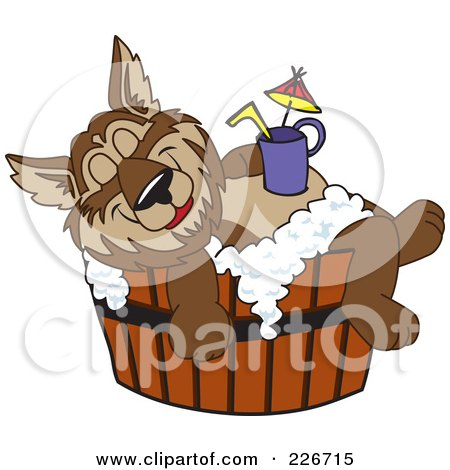 Royalty-Free (RF) Clipart Illustration of a Wolf School Mascot Relaxing In A Tub With A Drink On His Belly by Toons4Biz