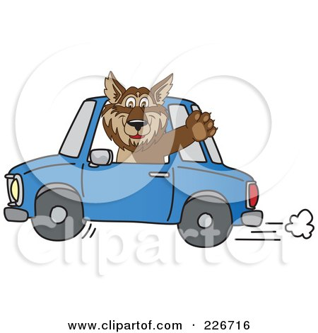 Royalty-Free (RF) Clipart Illustration of a Wolf School Mascot Waving And Driving A Car by Toons4Biz