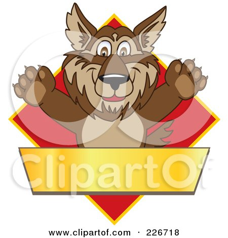 Royalty-Free (RF) Clipart Illustration of a Wolf School Mascot Over A Red Diamond And Blank Gold Banner by Toons4Biz