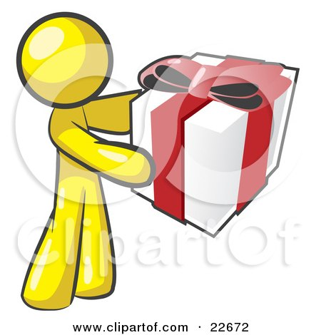 Clipart Illustration of a Thoughtful Yellow Man Holding A Christmas, Birthday, Valentine's Day Or Anniversary Gift Wrapped In White Paper With Red Ribbon And A Bow by Leo Blanchette