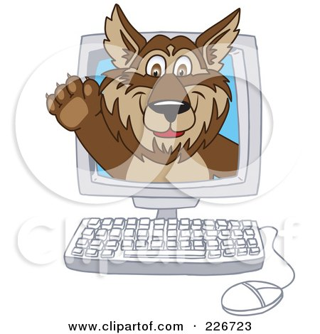Royalty-Free (RF) Clipart Illustration of a Wolf School Mascot Waving On A Computer Screen by Toons4Biz