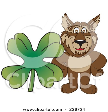 Royalty-Free (RF) Clipart Illustration of a Wolf School Mascot With A Four Leaf Clover by Toons4Biz