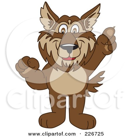 Royalty-Free (RF) Clipart Illustration of a Wolf School Mascot Pointing Upwards by Toons4Biz
