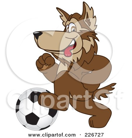Royalty-Free (RF) Clipart Illustration of a Wolf School Mascot Playing Soccer by Toons4Biz