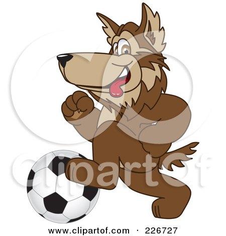 Wolf Playing Football Wolf School Mascot Playing
