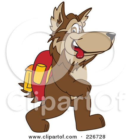 Royalty-Free (RF) Clipart Illustration of a Wolf School Mascot Walking To School by Toons4Biz