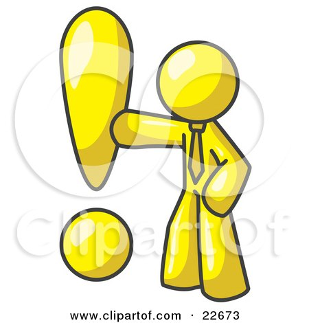 Clipart Illustration of a Yellow Businessman Standing by a Large Exclamation Point by Leo Blanchette