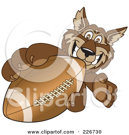 Royalty-Free (RF) Clipart Illustration of a Wolf School Mascot Grabbing A Football by Toons4Biz