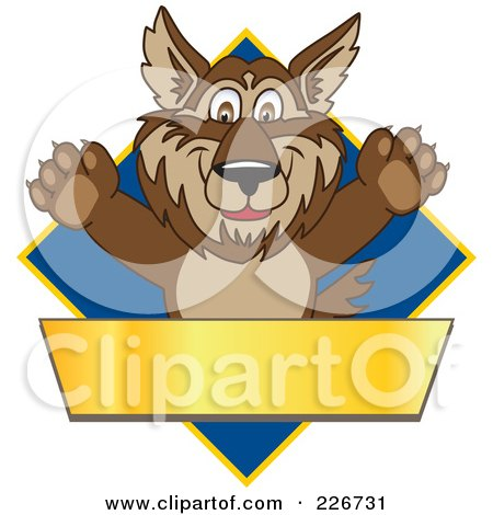 Royalty-Free (RF) Clipart Illustration of a Wolf School Mascot Over A Blue Diamond And Blank Gold Banner by Toons4Biz