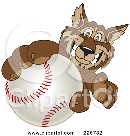Royalty-Free (RF) Clipart Illustration of a Wolf School Mascot Grabbing A Baseball by Toons4Biz