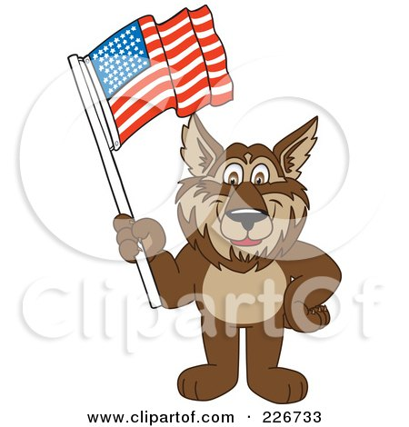 Royalty-Free (RF) Clipart Illustration of a Wolf School Mascot Waving An American Flag by Toons4Biz