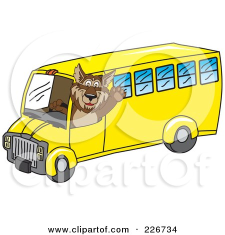 Royalty-Free (RF) Clipart Illustration of a Wolf School Mascot Waving And Driving A School Bus by Toons4Biz