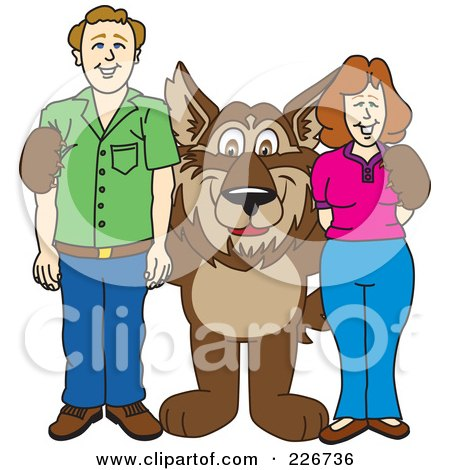 Royalty-Free (RF) Clipart Illustration of a Wolf School Mascot With Adults by Toons4Biz