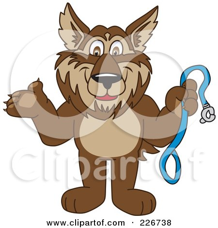 Royalty-Free (RF) Clipart Illustration of a Wolf School Mascot Holding A Leash by Toons4Biz