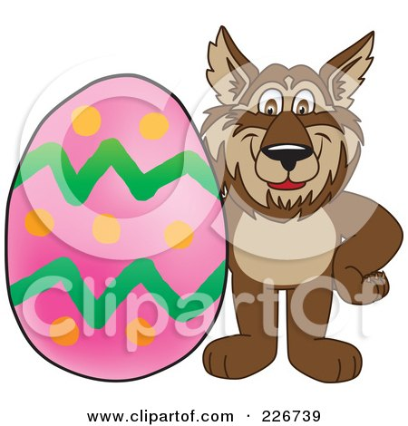 Royalty-Free (RF) Clipart Illustration of a Wolf School Mascot With An Easter Egg by Toons4Biz
