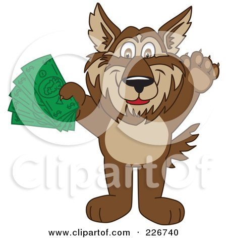 Royalty-Free (RF) Clipart Illustration of a Wolf School Mascot Holding Money by Toons4Biz