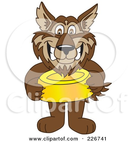 Royalty-Free (RF) Clipart Illustration of a Wolf School Mascot Holding A Food Bowl by Toons4Biz