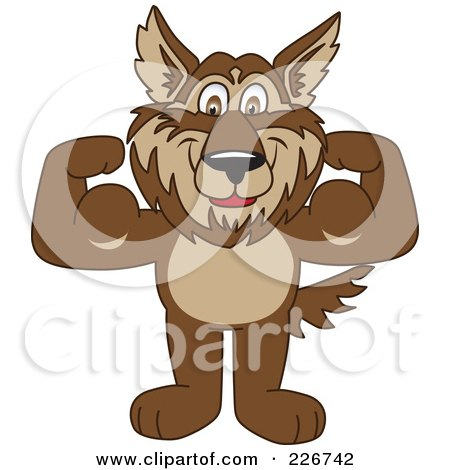 Royalty-Free (RF) Clipart Illustration of a Wolf School Mascot Flexing by Toons4Biz