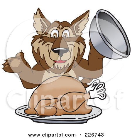 Royalty-Free (RF) Clipart Illustration of a Wolf School Mascot Serving A Thanksgiving Turkey by Toons4Biz