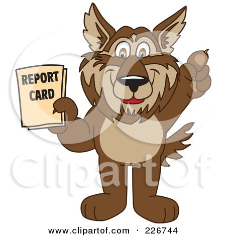 Royalty-Free (RF) Clipart Illustration of a Wolf School Mascot Holding A Report Card by Toons4Biz