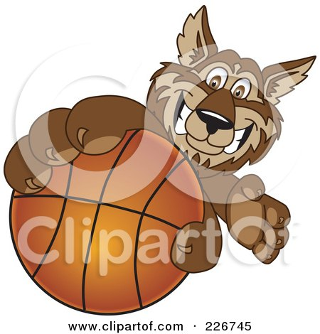 Royalty-Free (RF) Clipart Illustration of a Wolf School Mascot Grabbing A Basketball by Toons4Biz